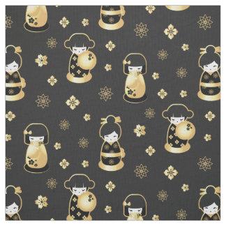 Cute elegant black gold Japanese dolls and flowers Fabric