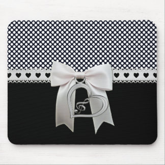 Cute elegant polka dots white ribbon and bow heart mouse pad