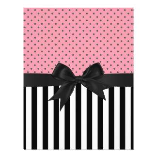 Cute elegant trendy stripes polka dots pattern 21.5 cm x 28 cm flyer