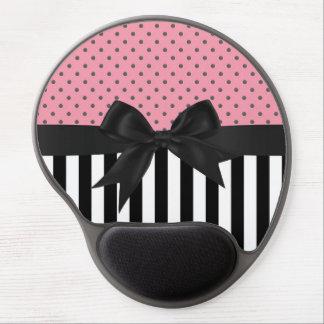 Cute elegant trendy stripes polka dots pattern gel mouse pad
