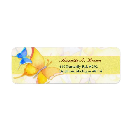 Cute Elegant Watercolor Butterfly Business Return Address Label