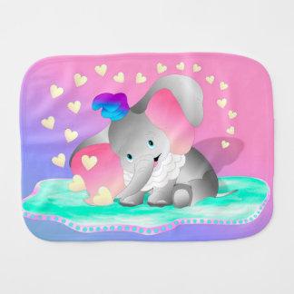 Cute Elephant and Hearts Burp Cloth