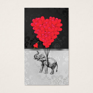 Cute elephant and love heart on gray