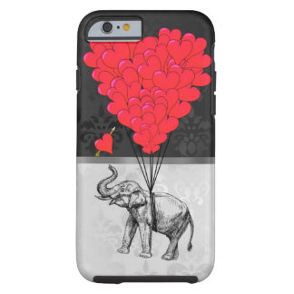 Cute elephant and love heart on gray tough iPhone 6 case