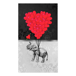 Cute elephant and love heart on gray pack of standard business cards