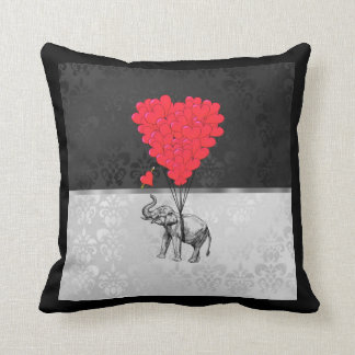 Cute elephant and love heart on gray throw pillow