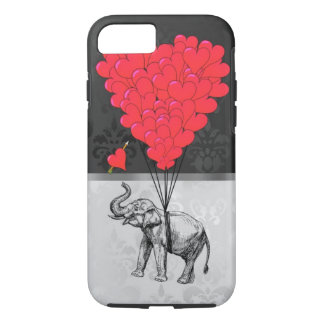 Cute elephant and love heart on grey iPhone 7 case