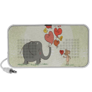 cute elephant and mouse valentine love vector II Notebook Speaker