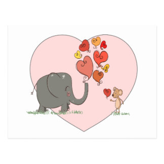 cute elephant and mouse valentine love vector postcard