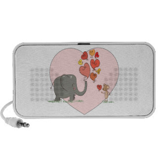 cute elephant and mouse valentine love vector mini speakers