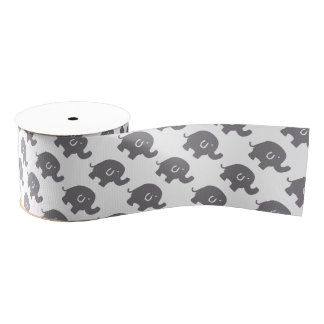 Cute Elephant Baby Shower Gift Ribbon Grosgrain Ribbon