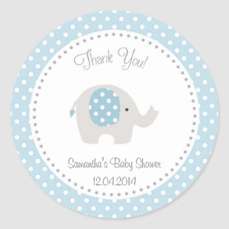 Cute Elephant Baby Shower Sticker Blue