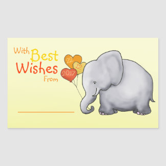 Cute Elephant Baby Shower With Best Wishes From Rectangular Sticker