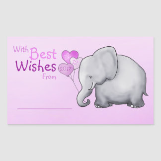 Cute Elephant Baby Shower With Best Wishes Gift Rectangular Sticker