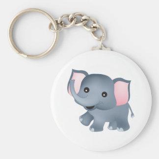Cute Elephant Basic Round Button Key Ring