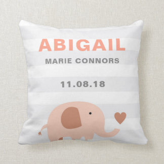 Cute Elephant Birth Announcement Pillow