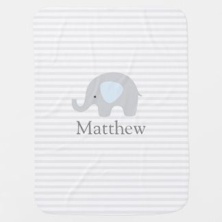 Cute Elephant Blue Gray Striped Boy Baby Blanket