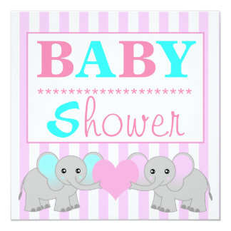 Cute Elephant Boy/Girl Twins Baby Shower Card