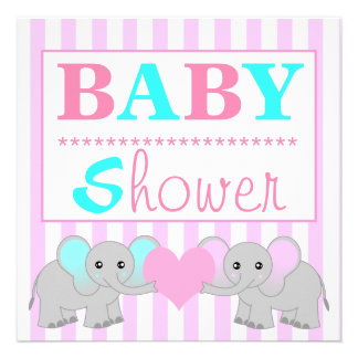 Cute Elephant Boy Girl Twins Baby Shower Personalized Invitations