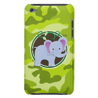 Cute Elephant; bright green camo, camouflage Barely There iPod Cover