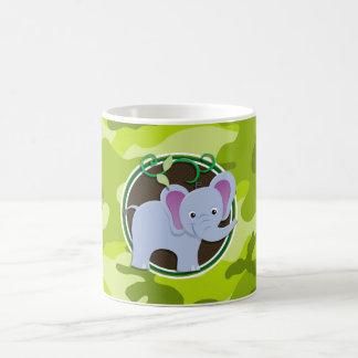 Cute Elephant bright green camo camouflage Mug