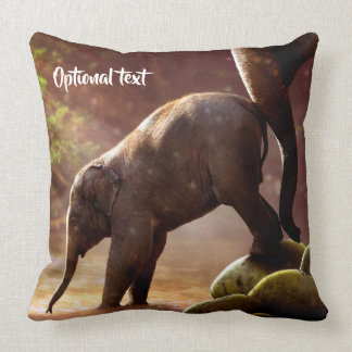 Cute Elephant Calf and Mother Cushion