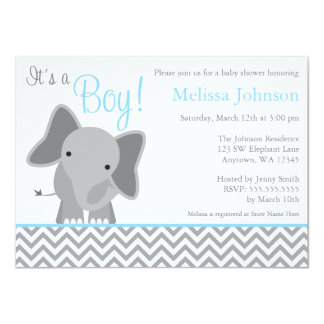 Cute Elephant Chevron Light Blue Baby Shower 11 Cm X 16 Cm Invitation Card