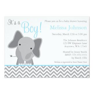 Cute Elephant Chevron Light Blue Baby Shower Card