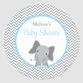 Cute Elephant Chevron Light Blue Baby Shower Round Sticker