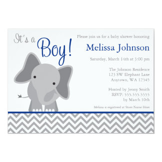 Cute Elephant Chevron Navy Blue Baby Shower 13 Cm X 18 Cm Invitation Card