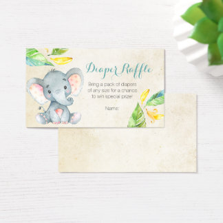 Cute Elephant - Diaper Raffle Card