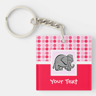 Cute Elephant Double-Sided Square Acrylic Key Ring