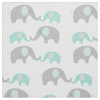 Cute Elephant Fabric Mint Green & Grey