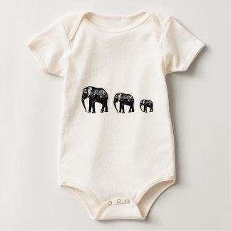 Cute Elephant Family silhouette design Baby Bodysuit