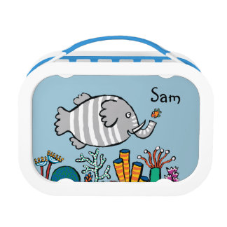 Cute Elephant Fish Scene with Coral Lunchbox