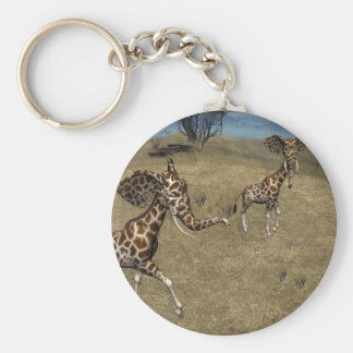Cute Elephant Giraffes Basic Round Button Key Ring