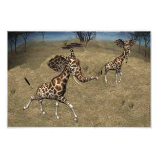 Cute Elephant Giraffes Photo Print