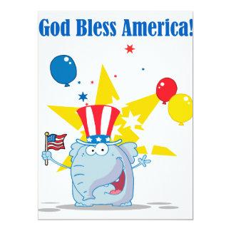 cute elephant god bless america patriotic cartoon 17 cm x 22 cm invitation card