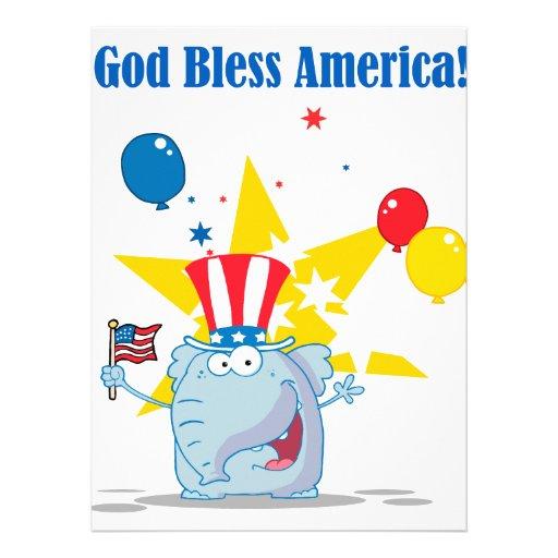 cute elephant god bless america patriotic cartoon custom invite