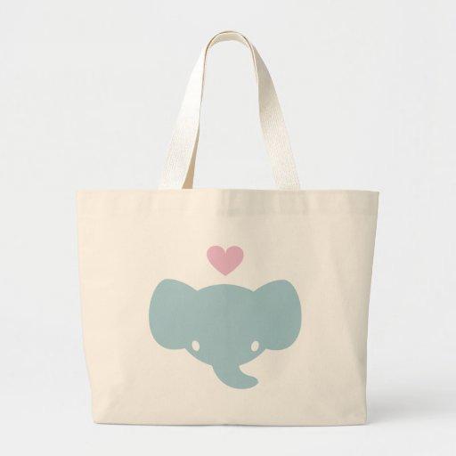 Cute Elephant Heart Graphic Canvas Bag