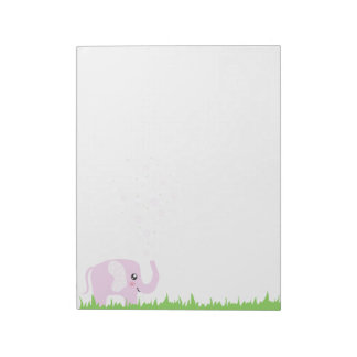 Cute elephant in girly pink & purple notepads