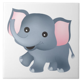 Cute Elephant Large Square Tile