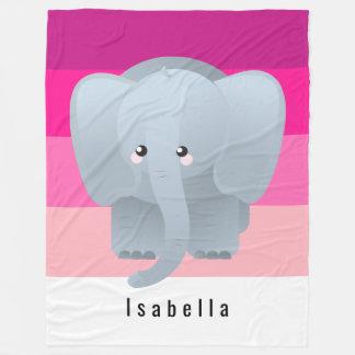 Cute Elephant Monogram Hot Deep Pale Pink Hues Fleece Blanket