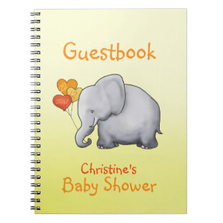 Cute Elephant Neutral Baby Shower Guestbook Notebooks