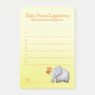 Cute Elephant Neutral Baby Shower Suggest Name Post-it Notes