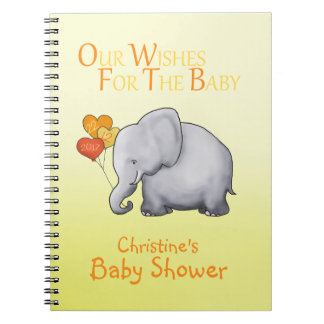 Cute Elephant Neutral Baby Shower Wishes for Baby Notebooks