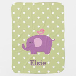 Cute Elephant Personalised Girl's Baby Blanket