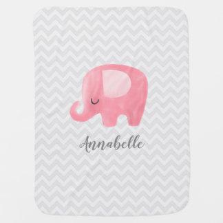 Cute Elephant Personalized Girl Baby Blanket