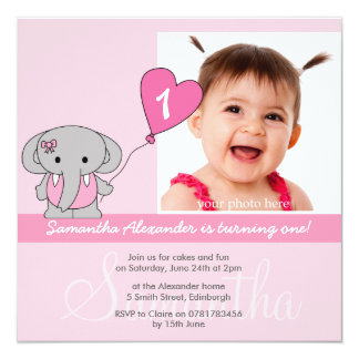 Cute Elephant Photo First 1st Birthday Party Card