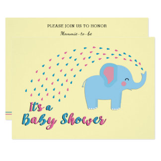 Cute Elephant Pink and Blue Baby Shower Invitation